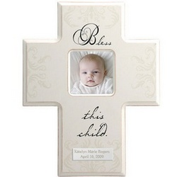 Bless This Child Cross Photo Frame