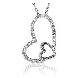 Diamond Pave 14K White Gold Double Heart Pendant Necklace