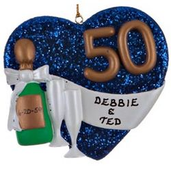Personalized Golden Anniversary Heart Christmas Ornament