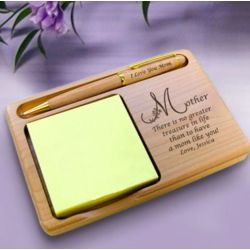 Personalized Motherly Treasure Wooden Notepad and Pen Holder