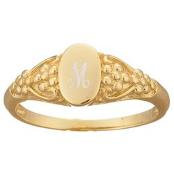 18k Gold Over Sterling Ladies Engraved Signet Ring