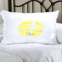 Personalized Yellow Celtic Blessings First Communion Pillow Case