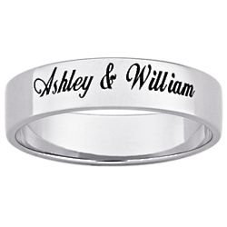 Platinum Plated Flat Top Engraved Message Band