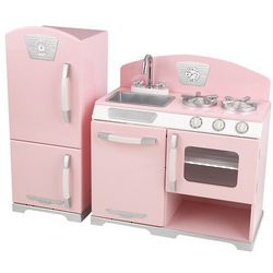 Pink Retro Kitchen And Refrigerator Play Set