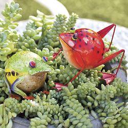 Tropical Frog Metal Sculpture