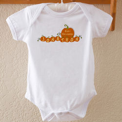 My First Halloween Personalized Pumpkin Baby Bodysuit