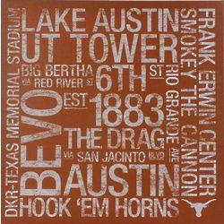 Texas Longhorns 24x24 Square Subway Art Canvas