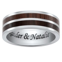Titanium and Wood 2 Row Engraved Message Band