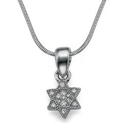 Small Cubic Zirconia and Sterling Silver Star of David Pendant