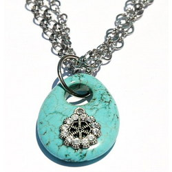 Turquoise Flower on Multi Strand Necklace