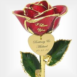 "11"" Personalized I Love You Couples Rose"