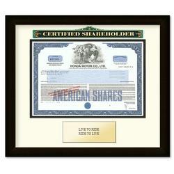 Framed Honda Motor Company Certificate