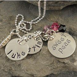 My Sweet Peas Cluster Personalized Hand Stamped Necklace