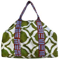 Big Batik Weekender Green Fish Eye Pattern Bag