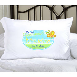 Personalized Sunshine and Butterfly First Communion Pillow Case