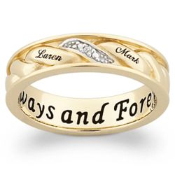 Woven Name Ring In18k Gold Over Sterling With Diamond Accent