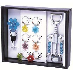 Wine Bottle Topper, Corkscrew, and Charm Set