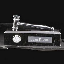 Personalized Gavel and Clock Plaque on a Marble Base