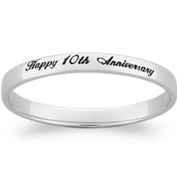 Sterling Silver Laser Top-Engraved Band