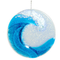 Handcrafted Ocean Wave Fused Glass Suncatcher
