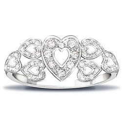 Hearts of Love Sterling Silver Ring Diamonds