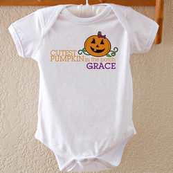 Cutest Pumpkin Personalized Halloween Baby Bodysuit