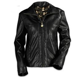 Mickey Mouse Black Faux Leather Women's Jacket