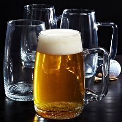 Dimpled Golf Ball Bottom Glass Beer Mugs