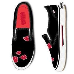 Mens Naruto Black Shoes with Red Clouds
