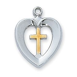 Sterling Silver Heart and Cross Pendant with Rhodium-Plated Chain