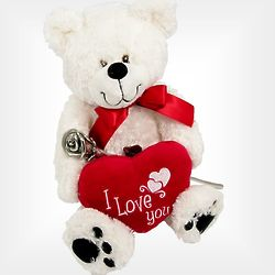 Valentine Kissing Rose with I Love You Heart Bear