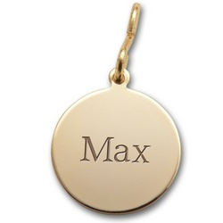 Small Gold Round Pet Tag