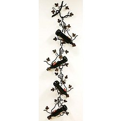 Four Bottle Wall/Ceiling Wine Holder with Grape Leaves