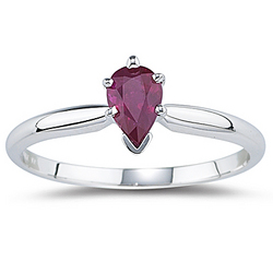 0.57 Ct Ruby Pear Ring in 14K White Gold