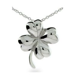 Good Luck Sterling Silver Four Leaf Clover Pendant Necklace