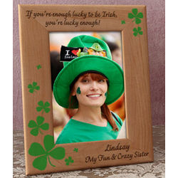 Personalized Green Lucky Charms Wooden Picture Frame