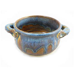 Handmade Stoneware Pottery Chili Bowl in Earthy Blue