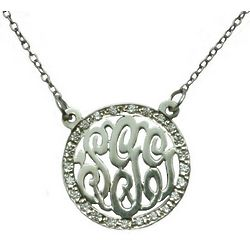 Cut-Out Sterling Silver Monogram Necklace with CZ Border