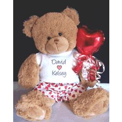Personalized Teddy Bear with Heart Boxer Shorts