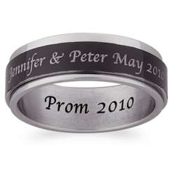 Men's Engraved Black and White Stainless Steel Spinner Ring