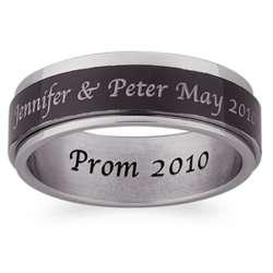 Men's Engraved Black and White Stainless Steel Spinner Ring