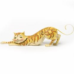 Stretching Tabby Cat Figurine