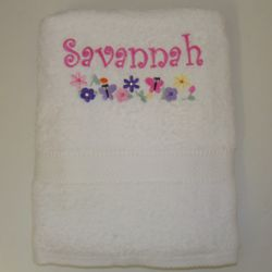 Personalized Butterflies and Flowers Kid's Bath Towels