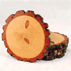 4 Natural Wood Coasters