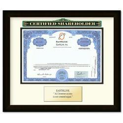 Framed Earthlink Certificate