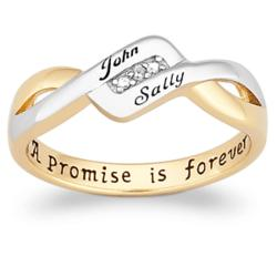 Sterling Silver Couples Top-Engraved Promise Ring