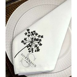 Personalized Shadow Flower Napkin Set