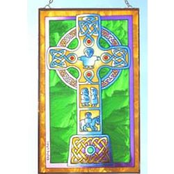 Celtic High Cross on Painted Glass