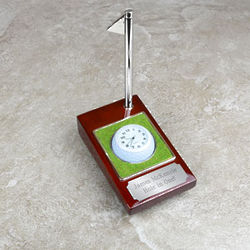 Personalized Hole in One Golf Ball Clock with Pen