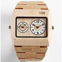 Beige Dual Time Zone Wooden Watch